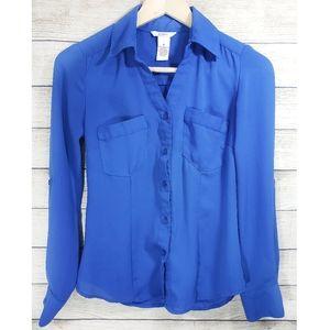 Candie's Royal Blue Button Down Blouse